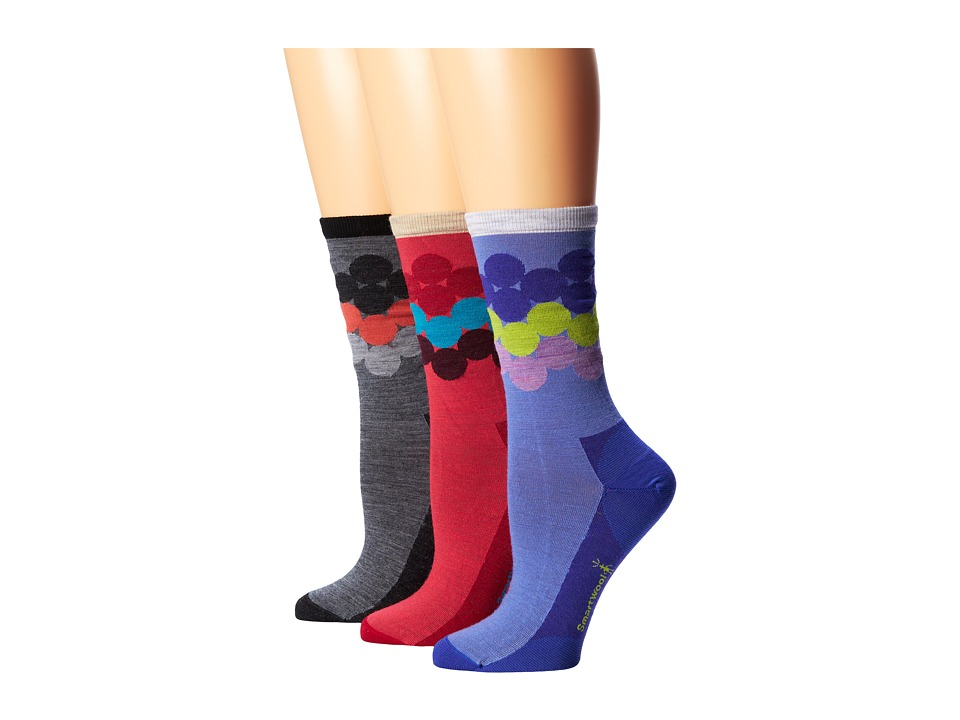 Smartwool - Dotrageous 3-Pack (Polar Purple/Punch/ Medium Gray Heather) Women's Crew Cut Socks Shoes