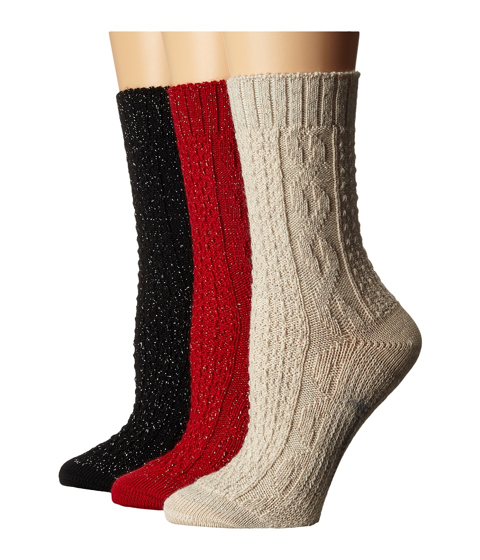 Smartwool - Wrapped Metallic Cable 3-Pack (Natrual Heather/Crimson/Black) Women's Crew Cut Socks Shoes