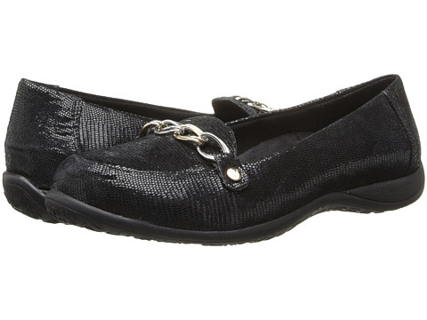 VIONIC - Alda Flat Loafer (Black Lizard) Women's Slip on Shoes