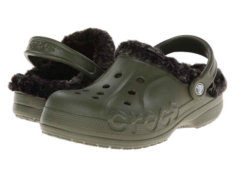 Crocs - Baya Heathered Lined Clog (Army Green/Black) Clog Shoes