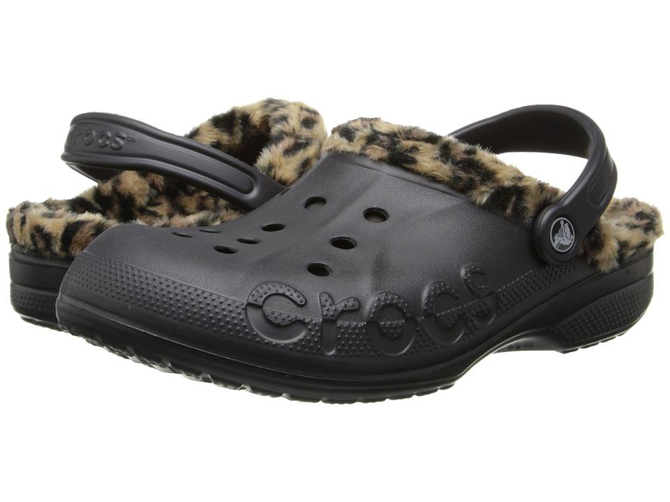 Crocs - Baya Leopard Liner Clog (Onyx/Gold) Clog Shoes