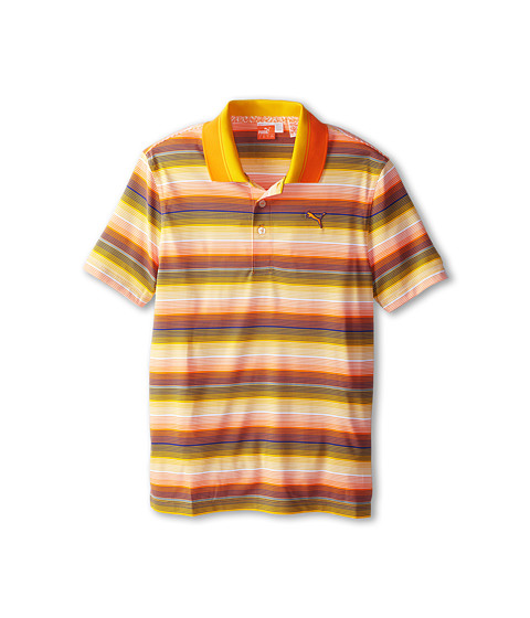 PUMA Golf Kids - Roadmap Sripe Polo (Big Kids) (Vibrant Orange) Boy's Short Sleeve Pullover