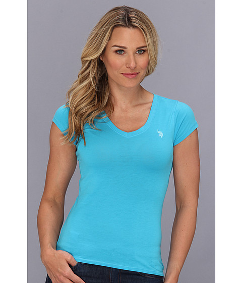 U.S. POLO ASSN. - Solid V-Neck Tee (Surf Blue) Women's Short Sleeve Pullover