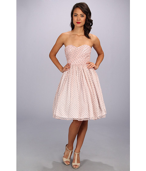 Unique Vintage - Polka Dot Chiffon Dress (Pink/Navy) Women