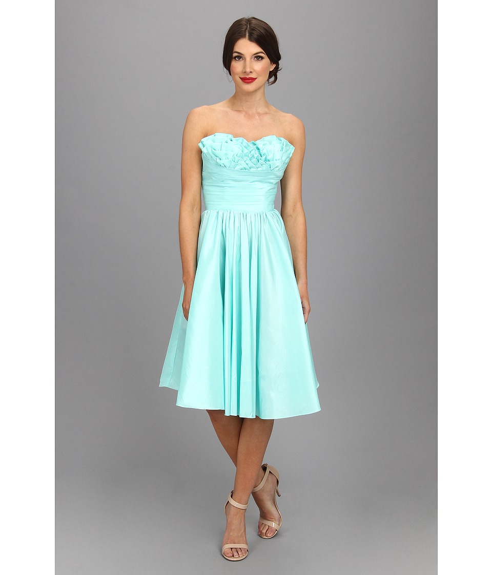 Unique Vintage - Going Steady Taffeta Strapless Party Dress (Turquoise) Women's Dress