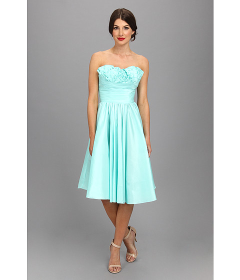 Unique Vintage - Going Steady Taffeta Strapless Party Dress (Turquoise) Women