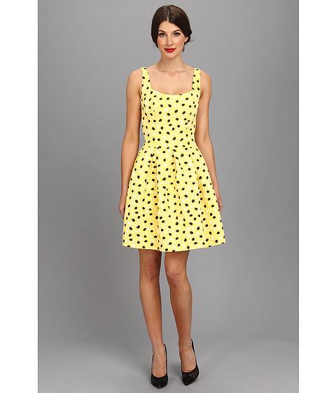 Unique Vintage - Polka Dot Brocade Tulip Dress (Yellow Dot) Women