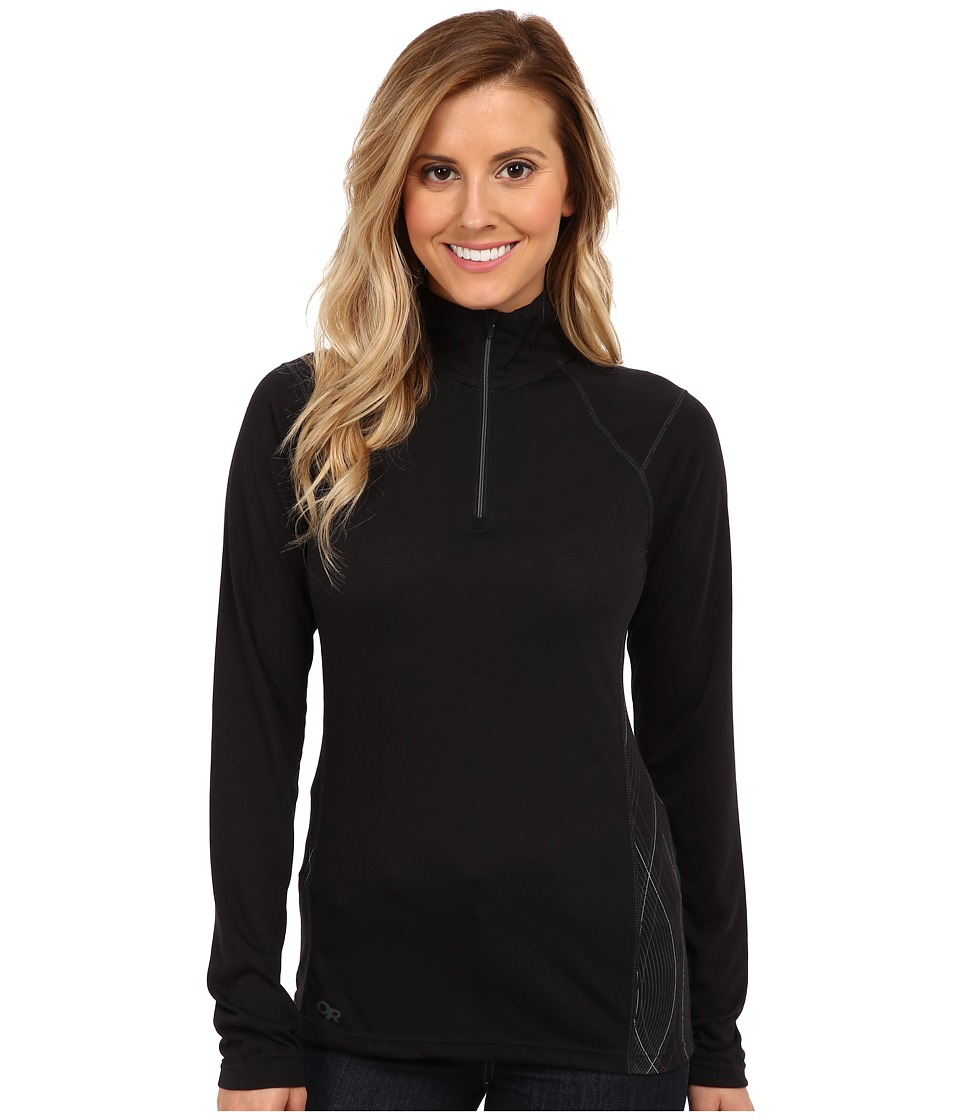Outdoor Research Essence L/S Zip Top (Black/Charcoal) Women