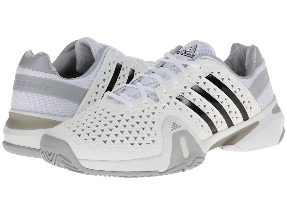 adidas - Barricade 8+ (Core White/Black/Clear Onix) Men's Shoes