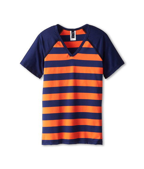 Splendid Littles - Marcel Stripe Surf Shirt (Big Kid) (Navy/Orange) Girl