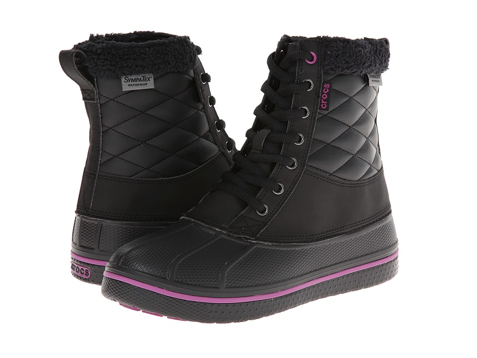 Crocs - All Cast Waterproof Duck Boot (Black/Viola) Women's Boots