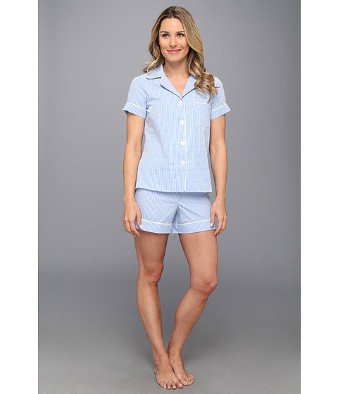 BedHead - Shorty PJ Set (Blue Gingham) Women's Pajama Sets