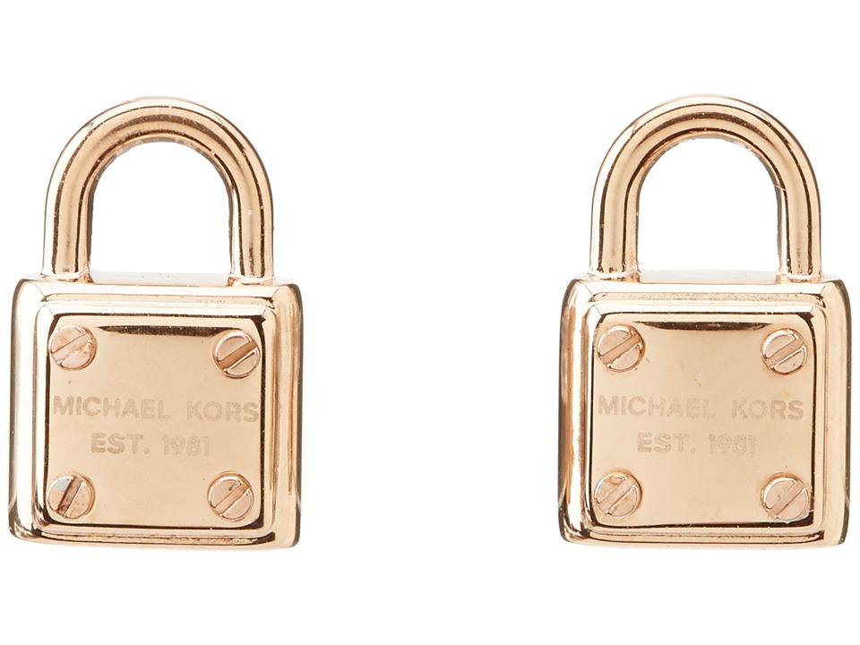 Michael Kors - Padlock Logo Stud Earring (Rose Gold) Earring