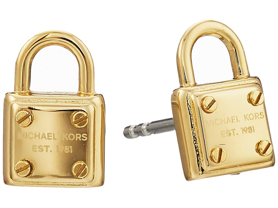 Michael Kors - Padlock Logo Stud Earring (Gold) Earring