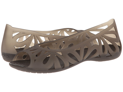 Crocs - Adrina III Peep Toe Flat (Espresso/Espresso) Women's Flat Shoes