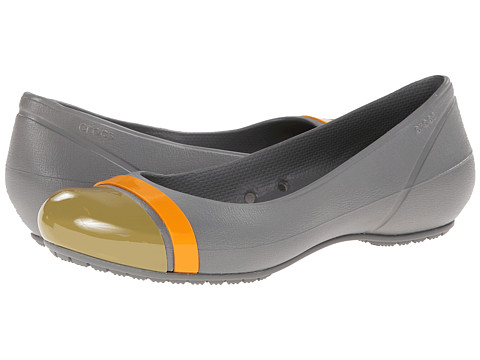 Crocs - Cap Toe Flat (Smoke/Olive) Women's Flat Shoes