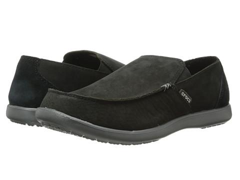 Crocs - Santa Cruz Leather Loafer (Black/Graphite) Men's Shoes