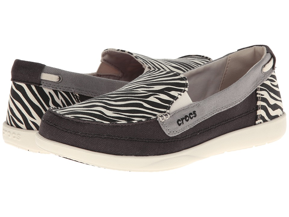 Crocs - Walu Wild Graphc Loafer (Black/Stucco) Women's Slip on Shoes