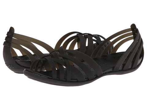 Crocs - Huarache Flat (Black/Black) Women's Sandals