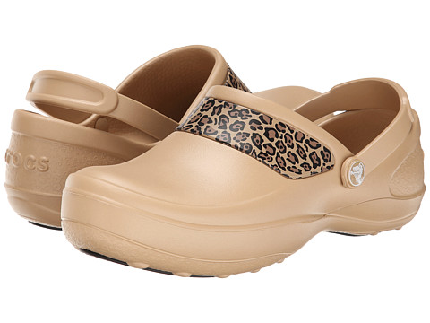 Crocs - Mercy Work Leoprd Grphic Clog (Gold) Women's Clog Shoes