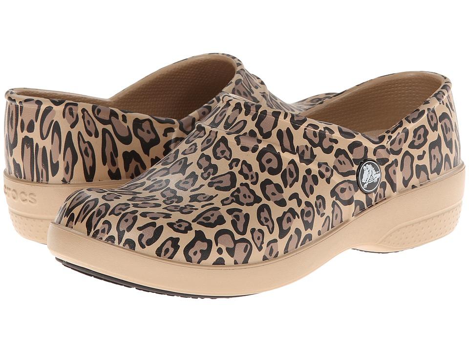 Crocs - Neria Leopard Print Clog (Gold) Women's Clog Shoes