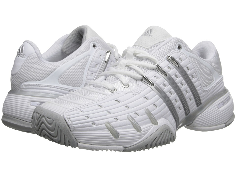 adidas - Barricade V Classic (Core White/Clear Onix/Silver Metallic) Women's Shoes