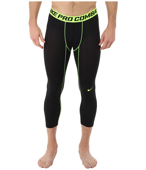 Nike - Pro Combat Core Compression 3/4 Tight (Black/Volt) Men's Workout
