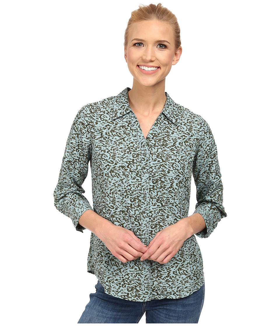 Royal Robbins - Lt. Expedition 3/4 Sleeve Print (Blizzard Blue) Women's Long Sleeve Button Up