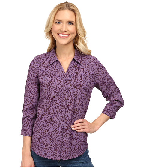 Royal Robbins - Lt. Expedition 3/4 Sleeve Print (Purple Iris) Women's Long Sleeve Button Up
