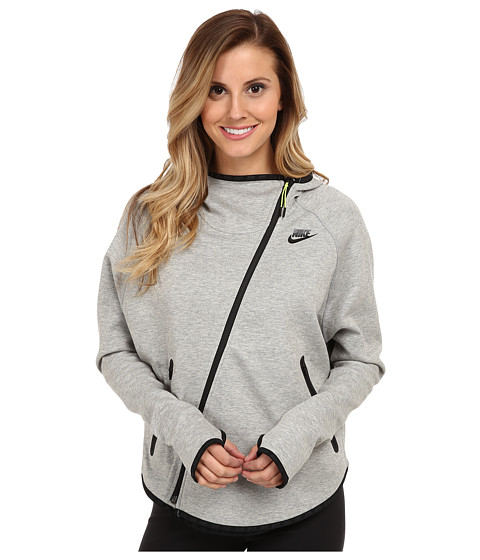 Nike - Tech Fleece Butterfly FZ Hoodie (Dark Grey Heather/Black) Women's Coat