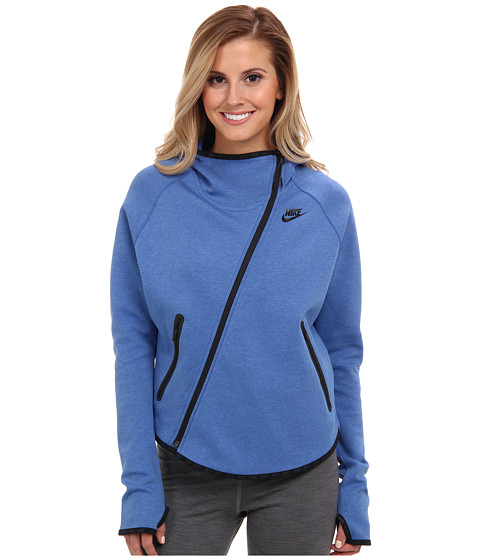 Nike - Tech Fleece Butterfly FZ Hoodie (Light Game Royal Heather/Black) Women's Coat