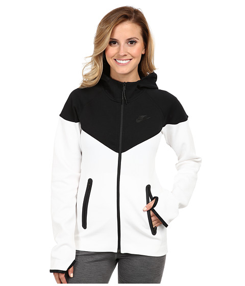 Nike - Tech Fleece FZ Hoodie (Black/White) Women's Sweatshirt