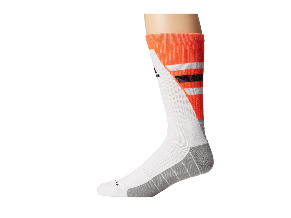adidas - Team Speed Traxion Crew Sock (White/Solar Red/Black) Crew Cut Socks Shoes
