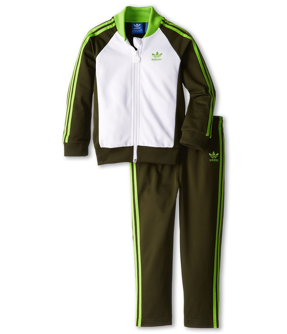 adidas Originals Kids - Superstar WP Tracksuit (Infant/Toddler) (Night Cargo/Core White/Solar Green) Kid's Suits Sets