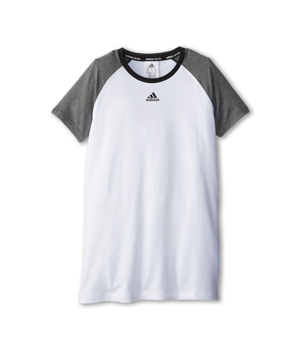 adidas Kids - Girls' Tennis Core Tee (Little Kid/Big Kid) (White/Heather Grey) Girl's T Shirt