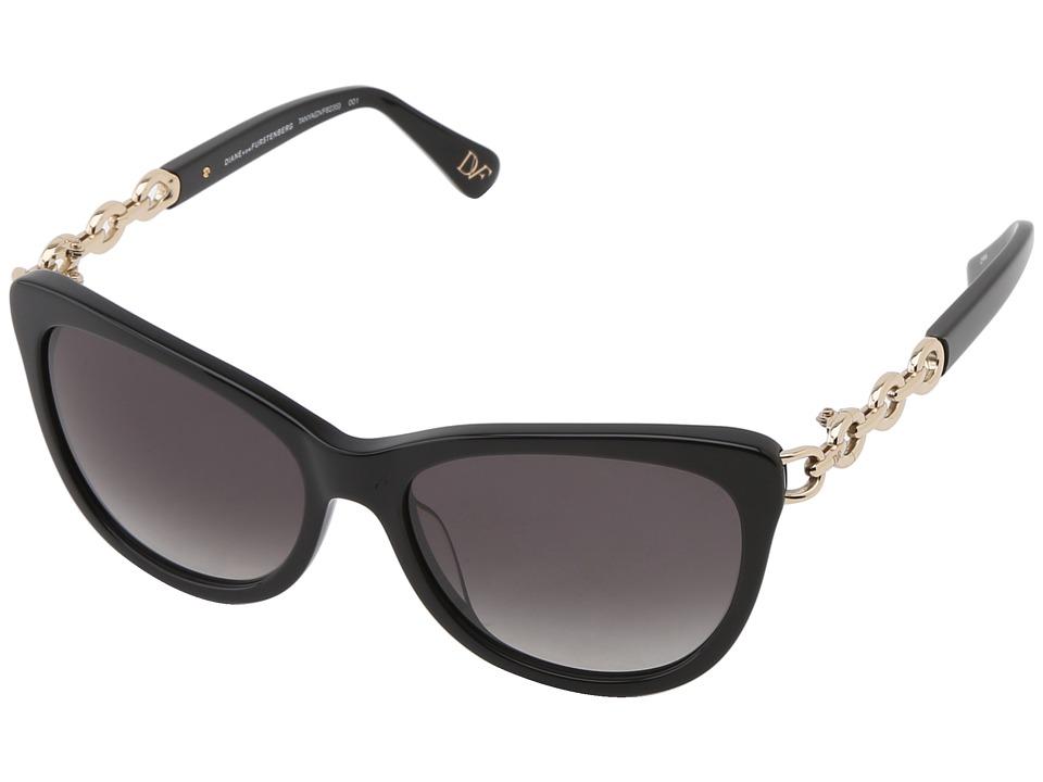 Diane von Furstenberg - Tanya (Black/Smoke Gradient) Fashion Sunglasses