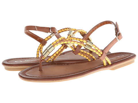 CL By Laundry - Clementina (Tan/Yellow Braid Dipping PU) Women's Sandals