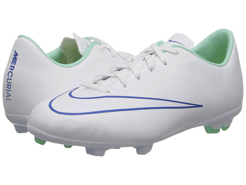 Nike Kids - Jr Mercurial Victory Firm Ground Soccer (Toddler/Little Kid/Big Kid) (White/Hyper Cobalt/Medium Mint/White) Kids Shoes