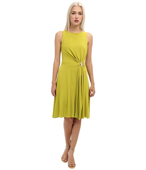 Versace Collection - Pleated Skirt Tank Dress (Lime) Women