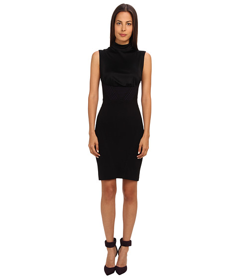 Versace Collection - High Neck Sheath Dress (Nero/Viola) Women