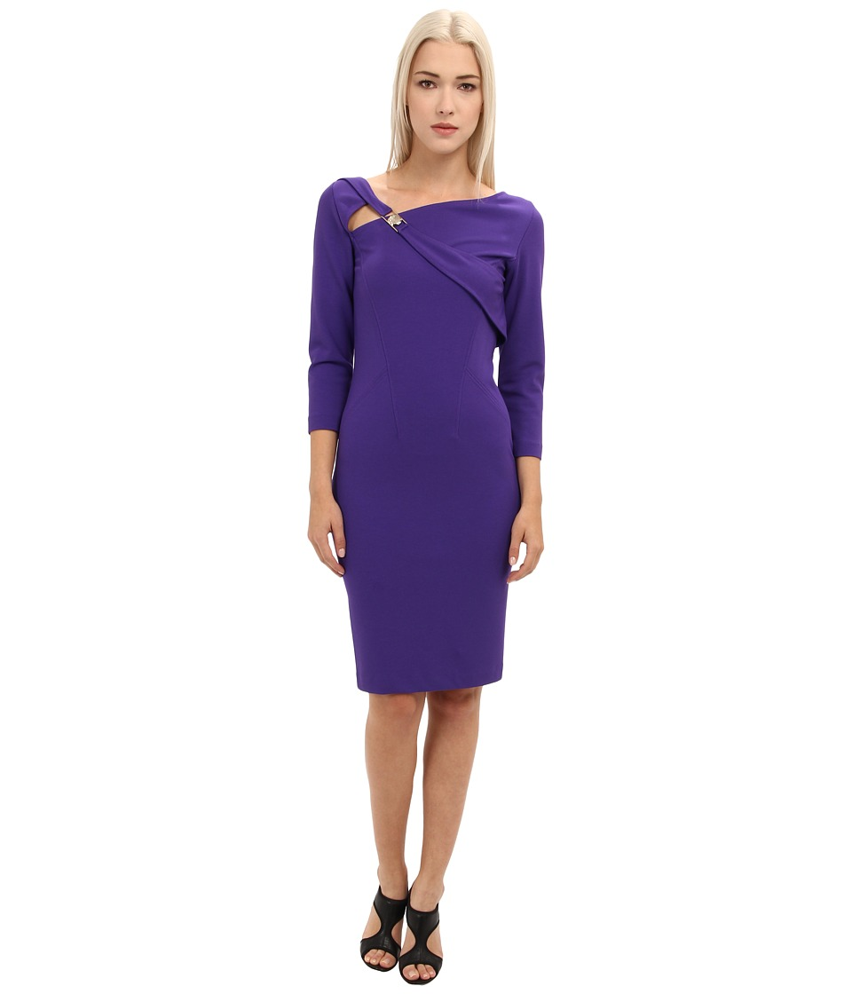 Versace Collection - Asymetrical Neckline 3/4 Sleeve Dress (Violet) Women's Dress