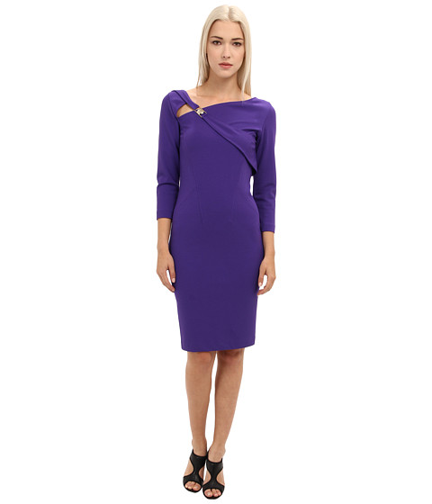 Versace Collection - Asymetrical Neckline 3/4 Sleeve Dress (Violet) Women