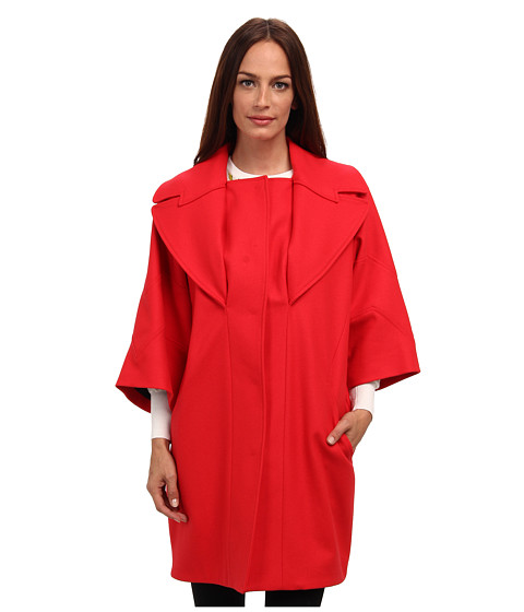 Versace Collection - Oversized Collar Wool Coat (Fire Red) Women's Coat
