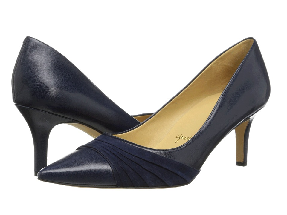 Trotters - Alexandra (Navy Glazed Kid Leather/Kid Suede) Women
