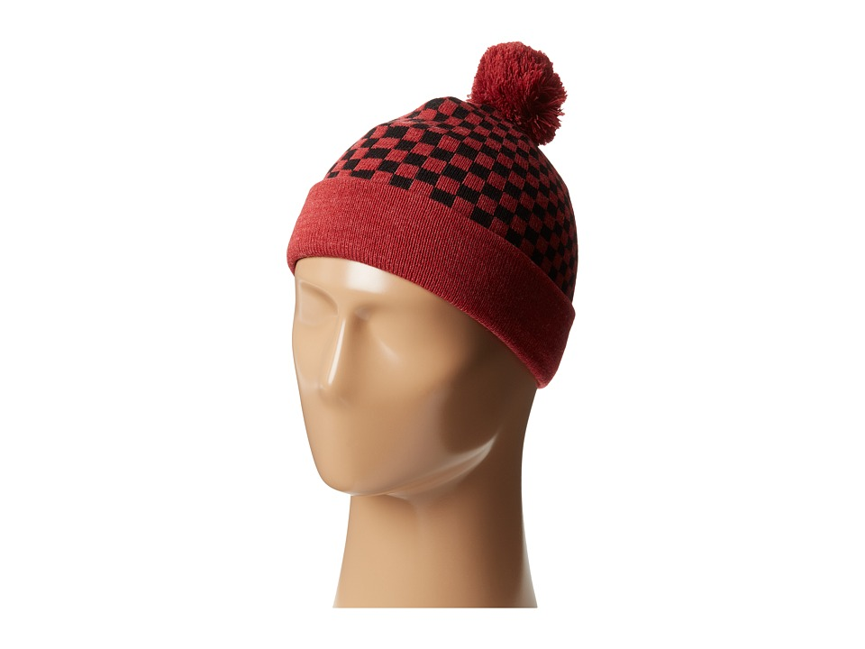 Vans - Checkerboard Pom Pom Beanie (Big Kids) (Heather Red) Beanies