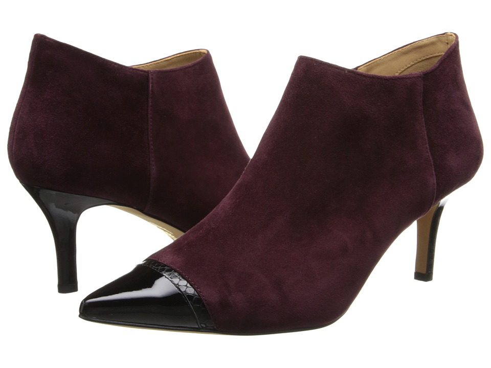 Trotters - Alana (Merlot Kid Suede/Black Snake Embossed Leather/Patent Leather) Women