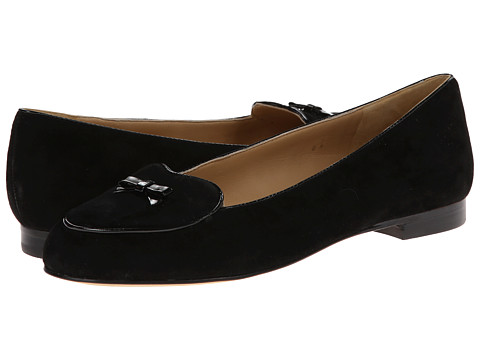 Trotters - Cheyenne (Black Kid Suede/Faux Patent Piping and Bow) Women's Flat Shoes