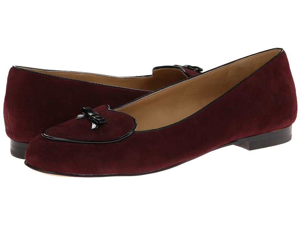 Trotters - Cheyenne (Merlot Kid Suede/Black Faux Patent Piping and Bow) Women's Flat Shoes