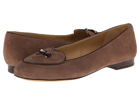 Trotters - Cheyenne (Dark Nude Kid Suede/Dark Brown Faux Patent Piping and Bow) Women's Flat Shoes