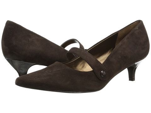 Trotters - Petra (Dark Brown Kid Suede/Pearlized Patent Man Made) Women's 1-2 inch heel Shoes